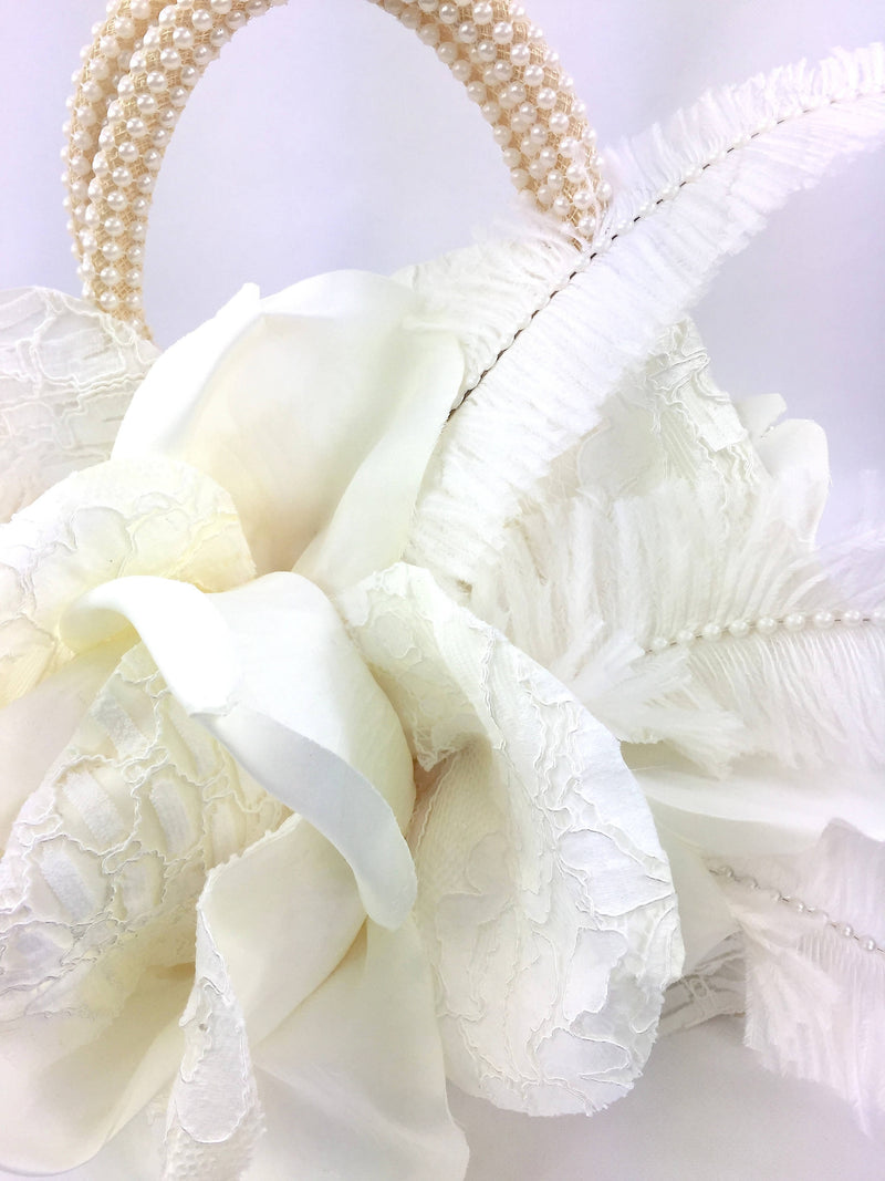 Ivory Sinamay and Lace Handmade Rose Flower Bag