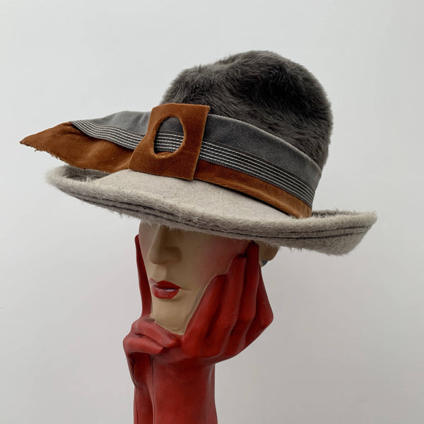 Vintage grey trilby hat with brown belt by Mitgi Loreng