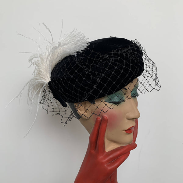 Vintage black velvet pillbox hat with veils white feathers made in UK