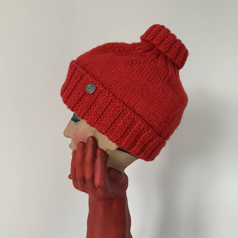 Vintage Stephen Jones Red wool beanie hat with logo