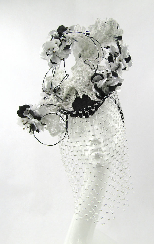 Black, White and Silver Floral Juliet Cap Veiled Headdress