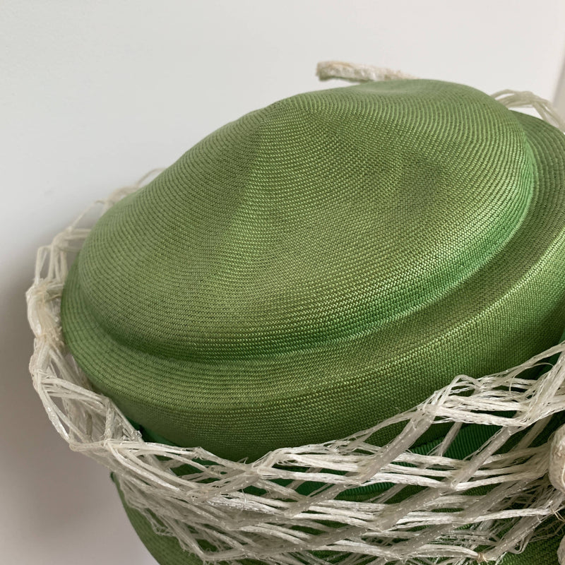 Vintage couture green daisy straw hat by Christian Dior