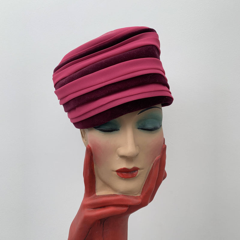 Vintage pink cloche hat with red stripes