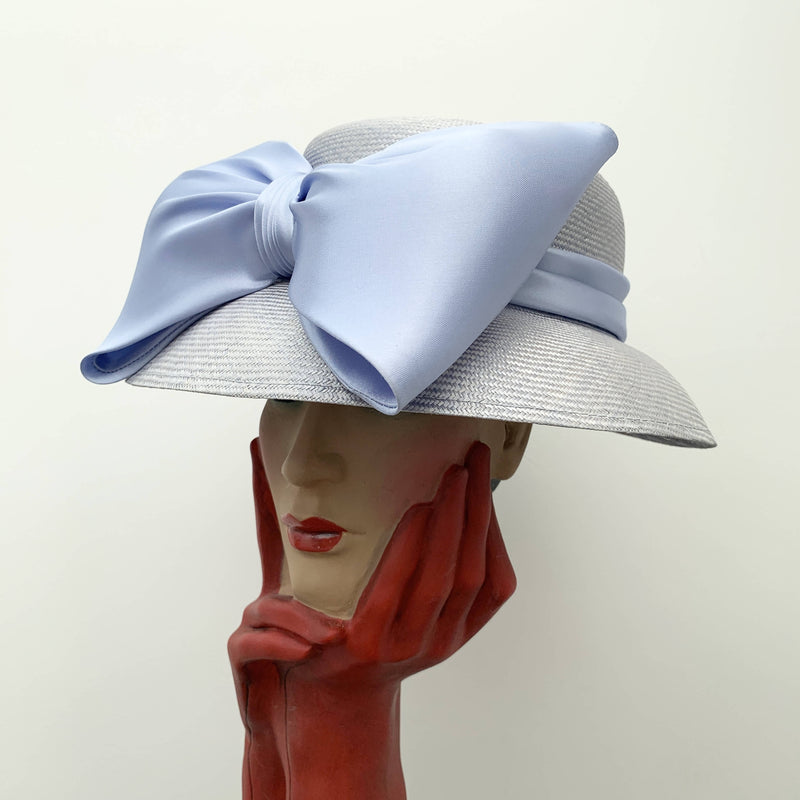 Vintage blue straw cloche hat with silk decorative ribbon by Bermona Trend made in England