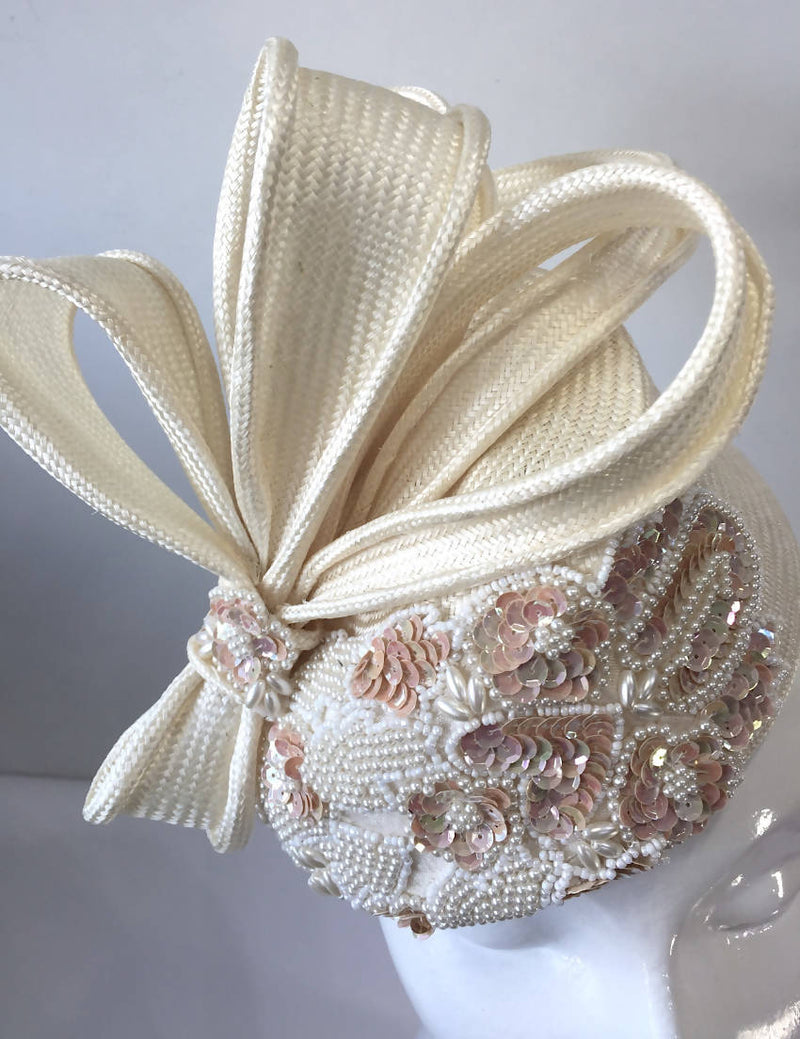 Cream Parisisal Sequin Pillbox Hat