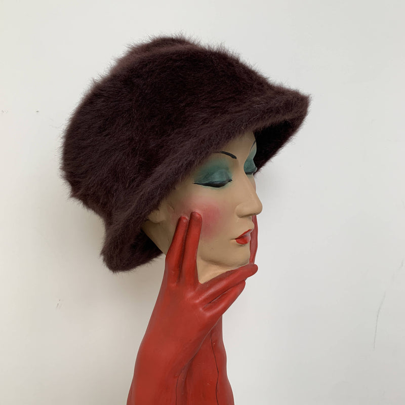 Vintage brown angora wool cloche hat by Philip Treacy made in London