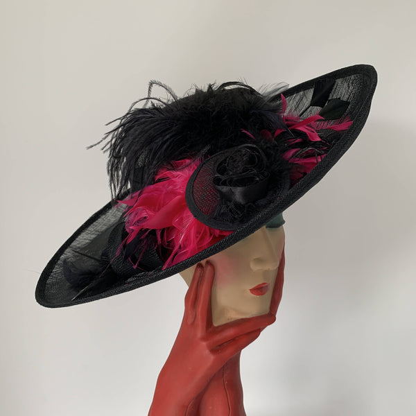 Vintage black Top hats with pink feathers, Hats so fab by Stephen jones made in England