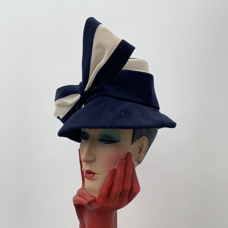 Vintage blue bucket hat with strip ribbon bow