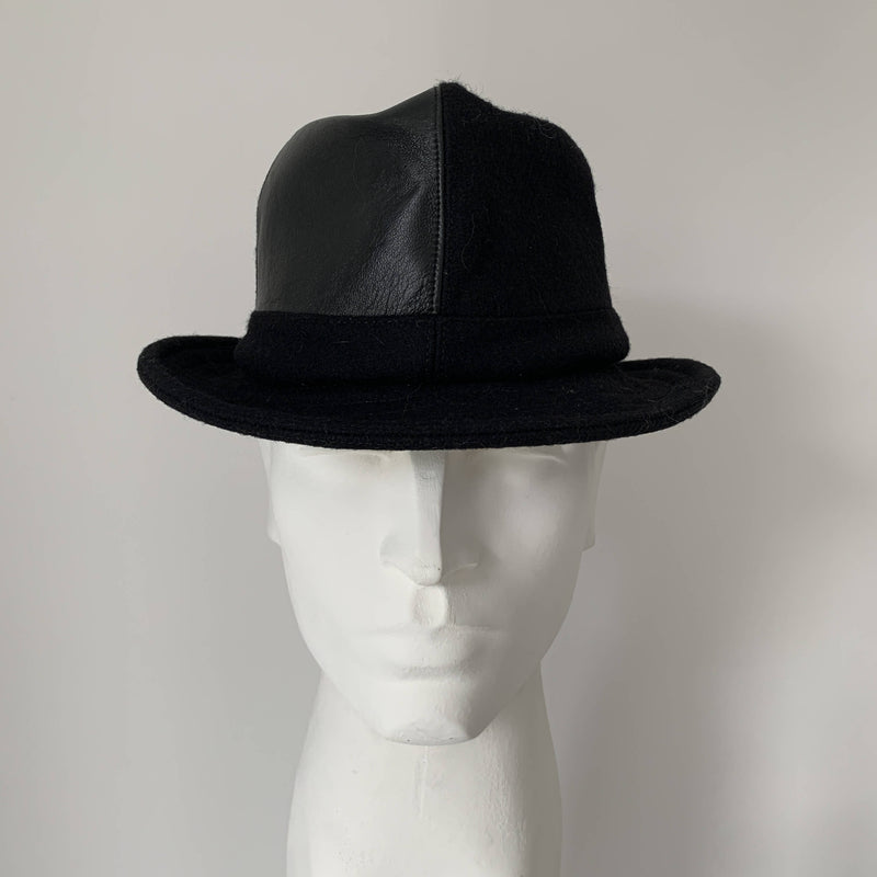 Vintage trilby black felt and leather hat by Stephen jones, Jones boy made in England