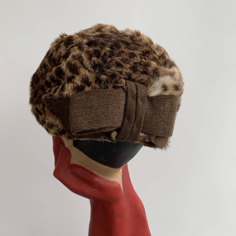 Glamorous vintage rabbit fur animal print hat with a bow lined