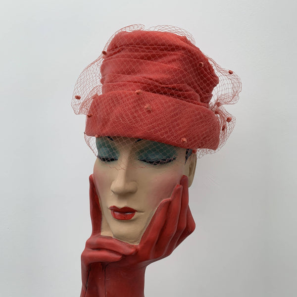 Vintage laced red cocktail hat