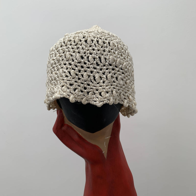 Vintage white braid bonnet hat