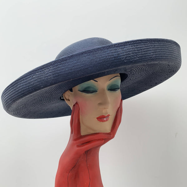 Vintage oversized navy classic straw hat by Jaeger made in Great Britain