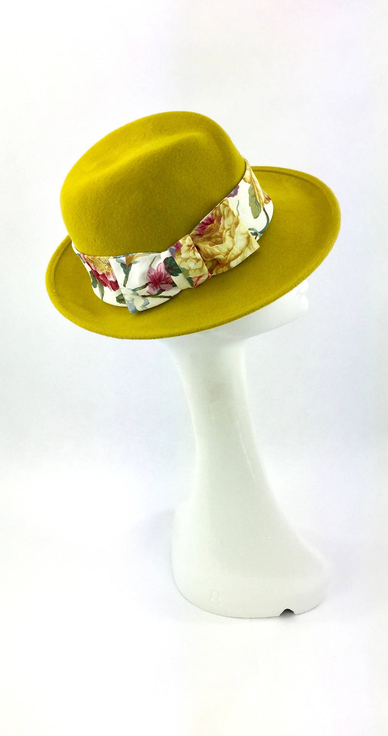 Velour Trilby Hat in Mustard Yellow