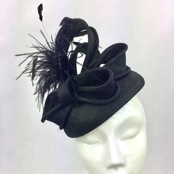 Black Parisisal Pillbox Hat with Bows and Feather Trim