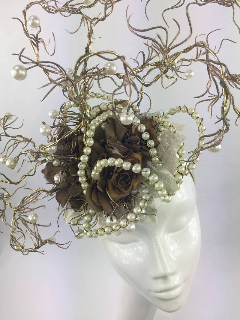 Antique Gold Rose Flower and Pearl Headdress