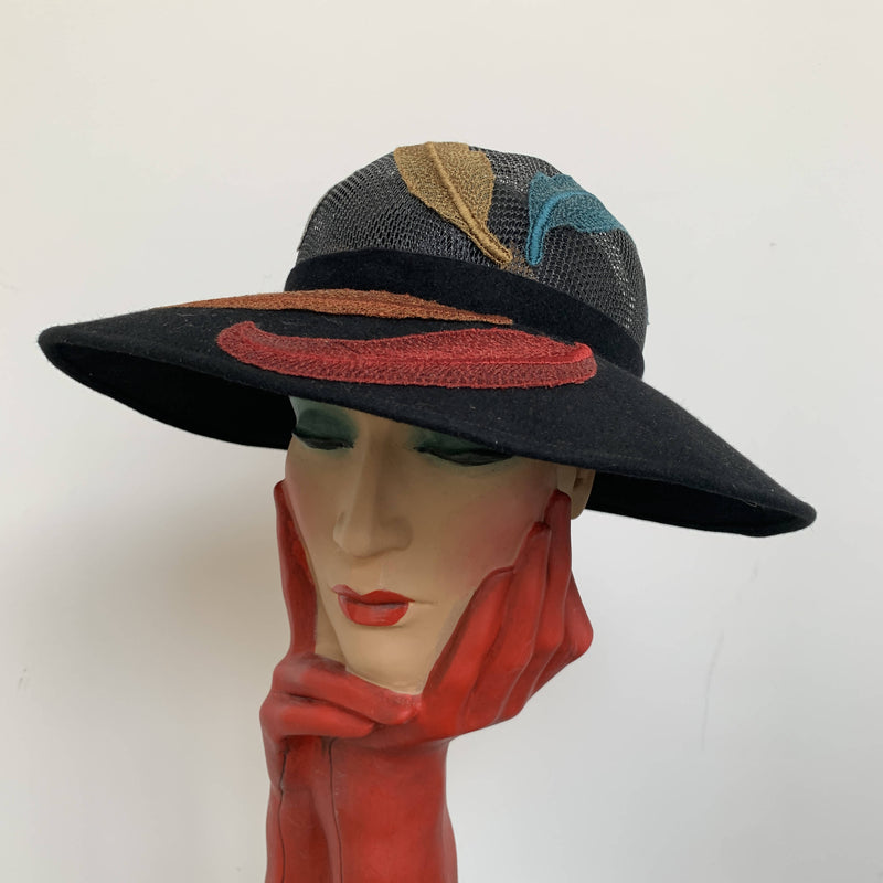 Vintage Liberty London felt hat by Alan Couldridge made in London