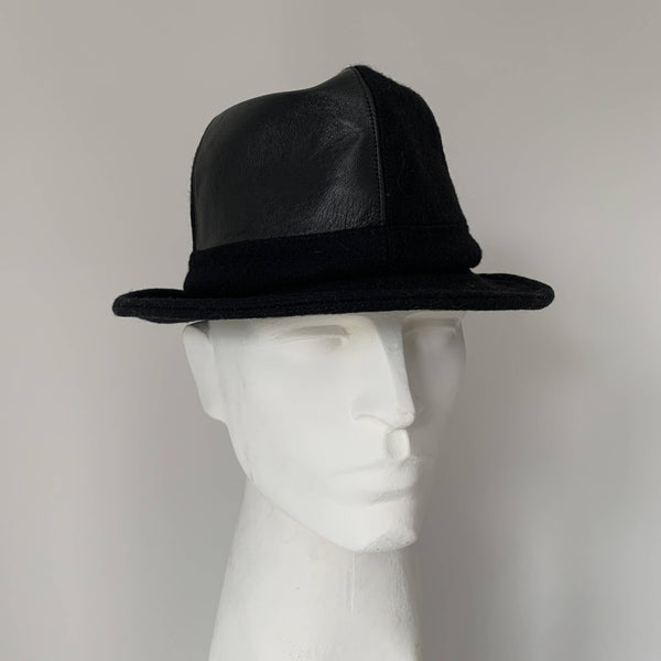 Vintage trilby black felt and leather hat by Stephen jones, Jones boy made in England perfect fit