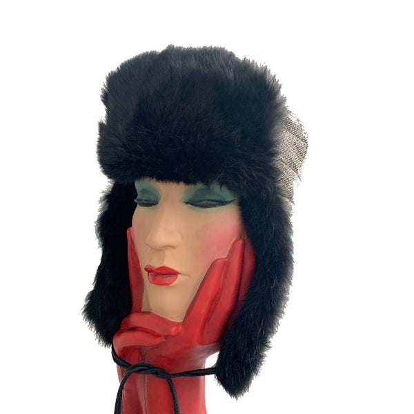Runway limited edition Stephen Jones Miss Jones soft rabbit fur black and Grey Russian hat