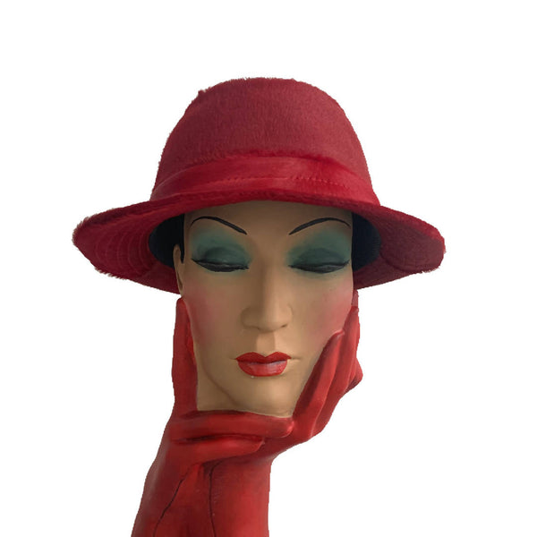 New made in London limited edition Phillip Treacy red pony hair leather pork pie trilby hat