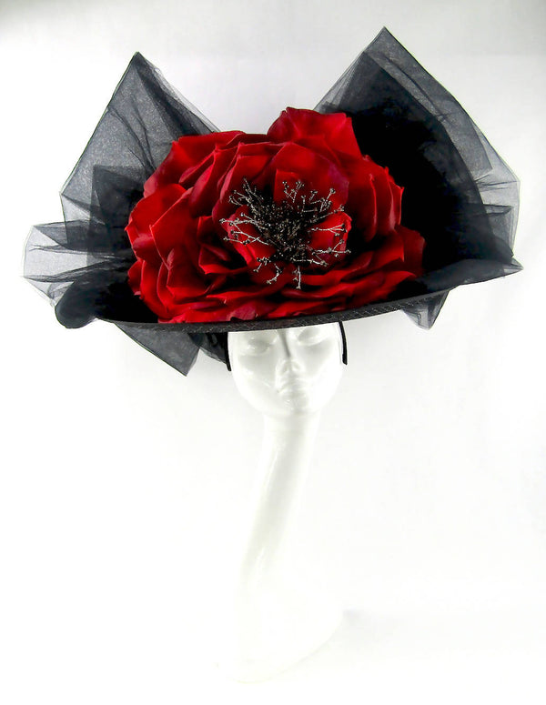 Black Picture Hat with Large Red Rose and Tulle Bow Trim