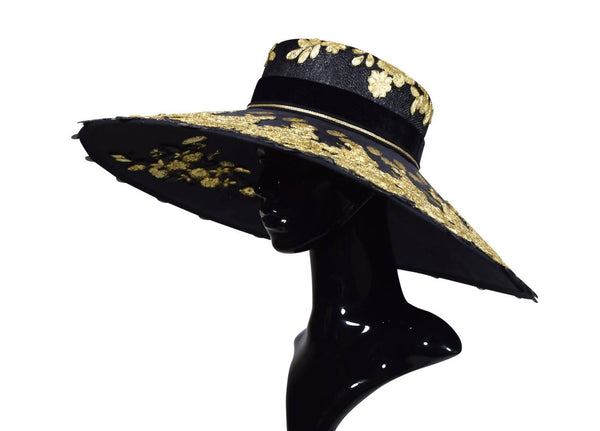 Kodogubako Gold Special Occasion  Picture Wide Brim Hat