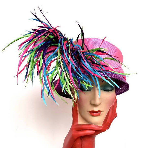 Vintage Philip Treacy purple and pink cloche hat with feather detailing