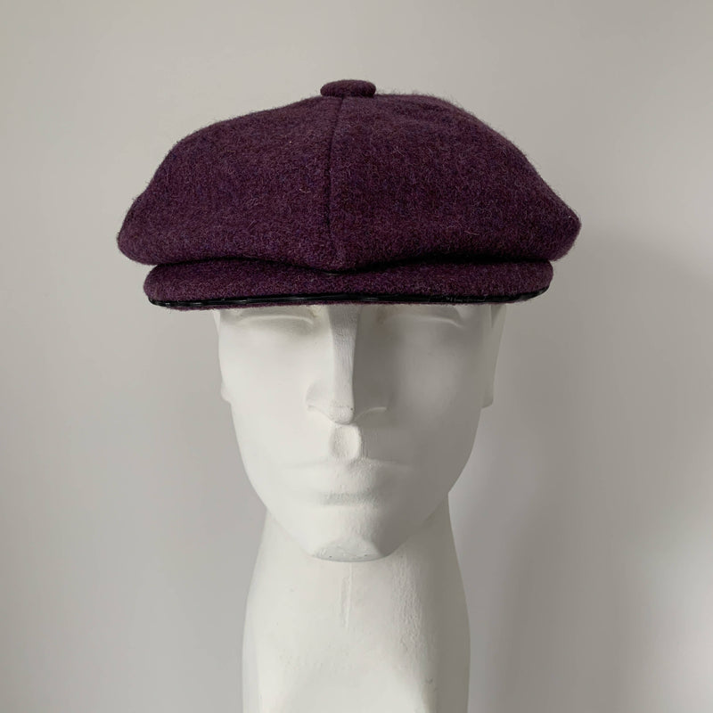 Vintage purple tweed baker boy hat by Stephen Jones, Jones boy made in England