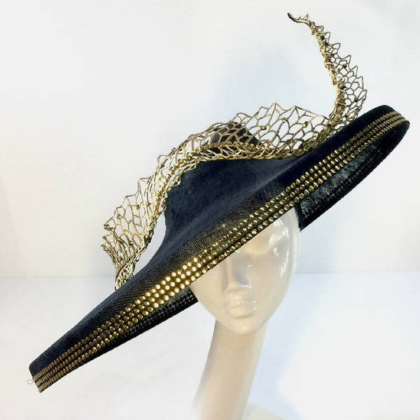 Black Large Down Brim Hat with Gold Wired Leaf