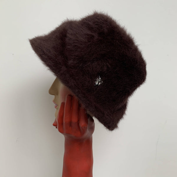Vintage brown angora wool fur cloche hat by Philip Treacy made in London