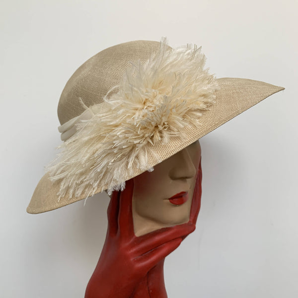 Vintage straw sun hat with natural fur feather and ribbon