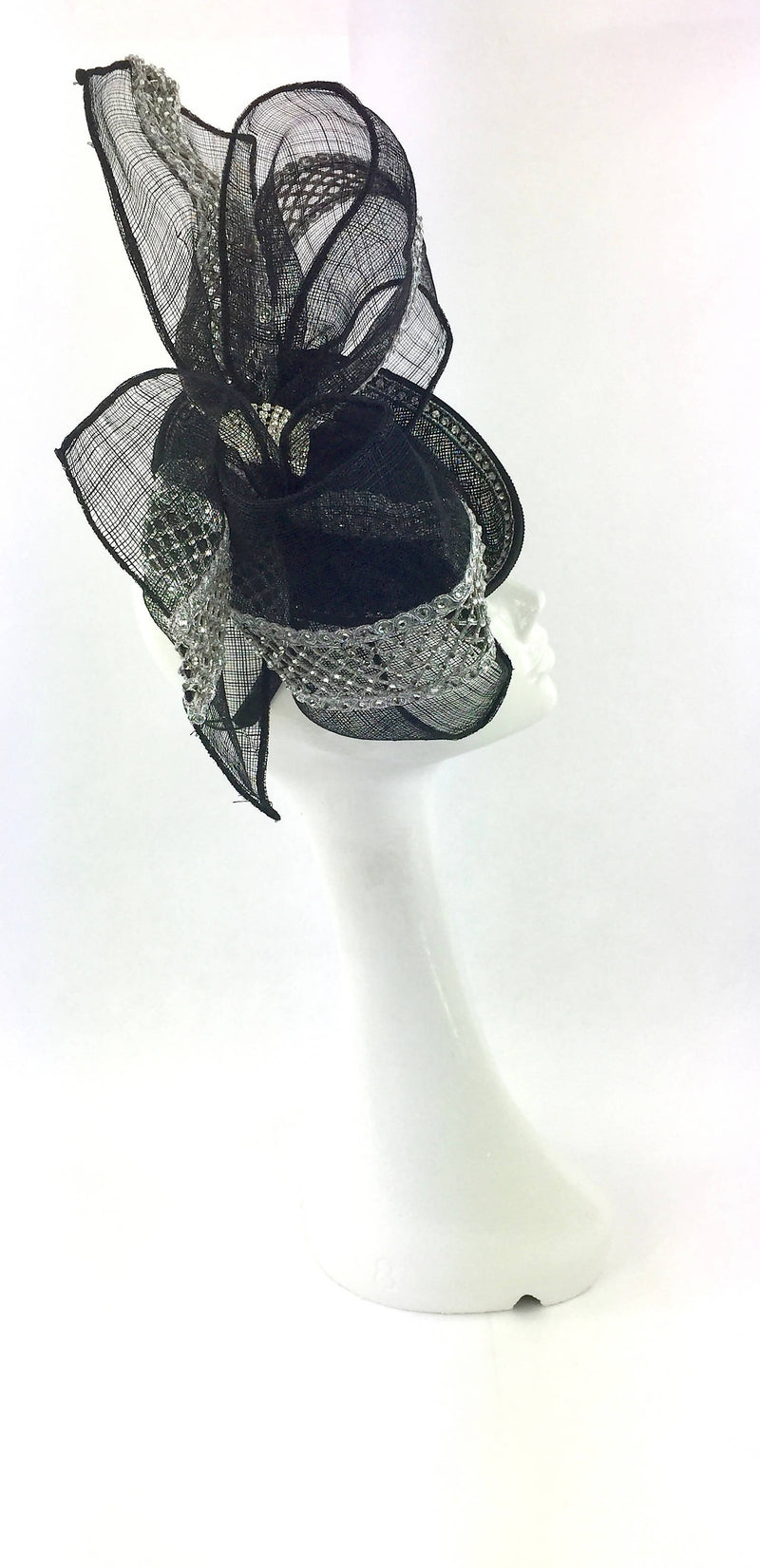Black Juliet Cap Fascinator with Diamanté Trim