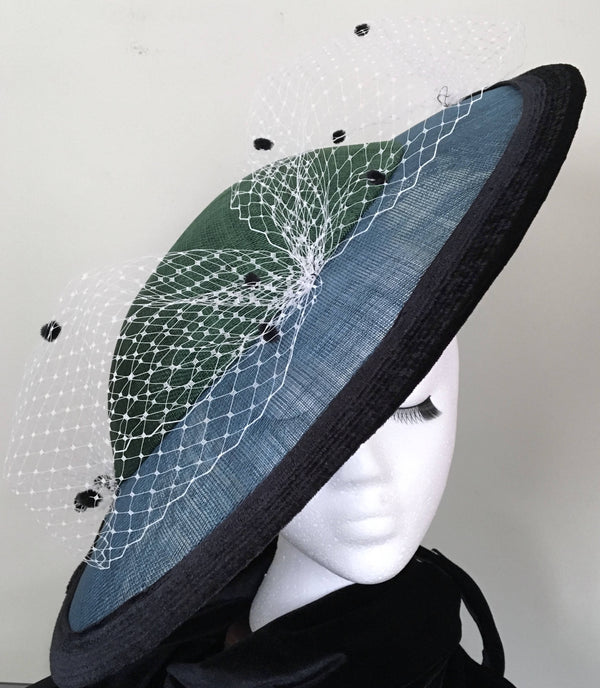 "Emerald green + sapphire blue large statement fascinator with black velvet trim: race day, Easter or special occasion hat, hatinator ""AUDREY"""