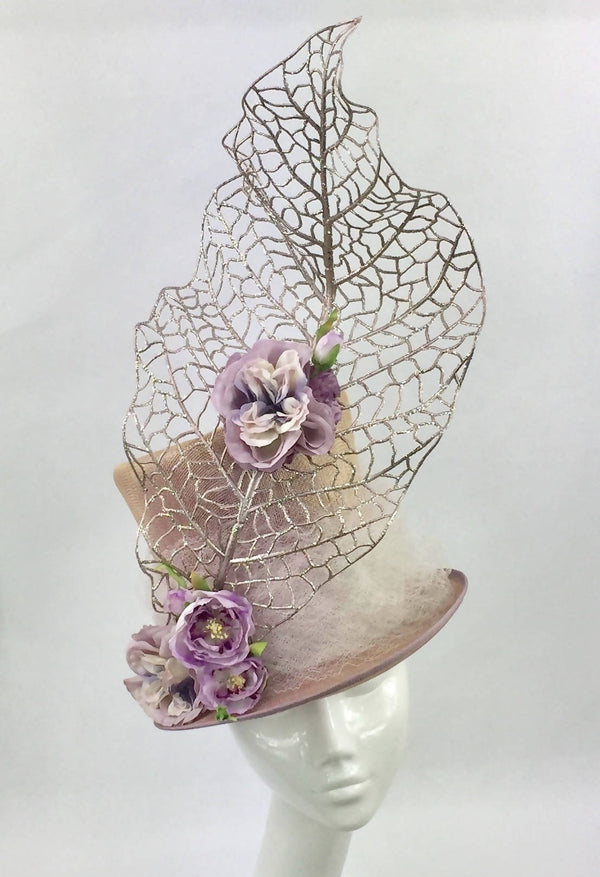 Dusky Pink Floral Top Hat with Large Rose Gold Wired Leaf