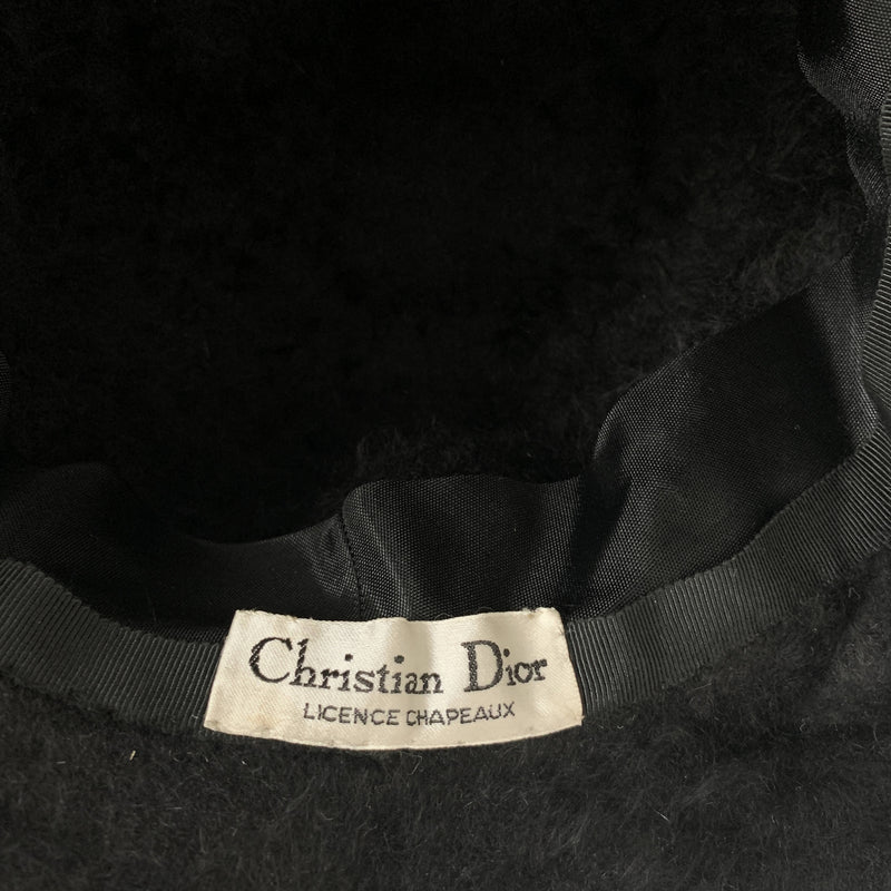 Vintage Christian DIor black wool couture hat