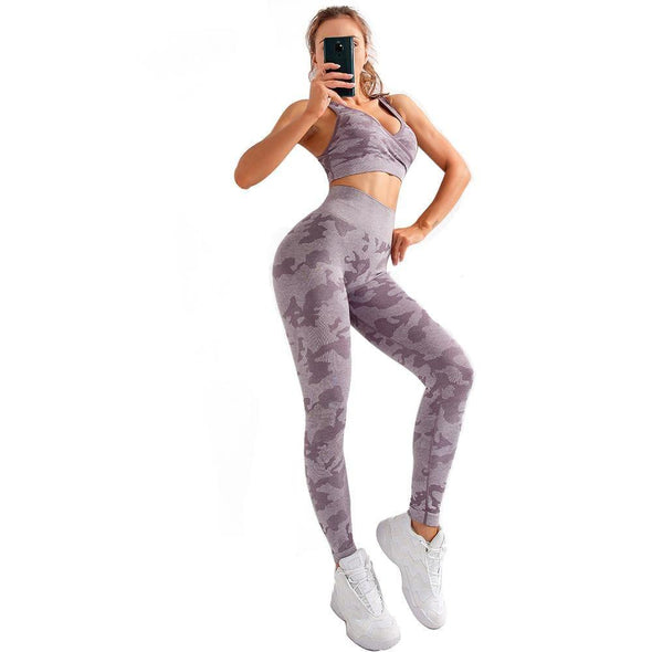 YogaSportWear Light Violet / S Ann Camo Set