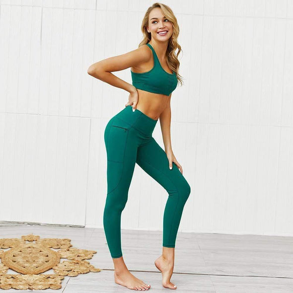 YogaSportWear Sea green / S Beverly Pocket Zip Set