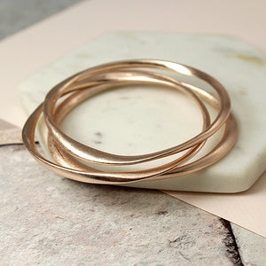 Rose gold plated triple bangle set