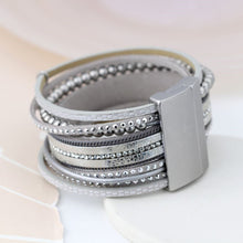 Load image into Gallery viewer, Metallic grey leather bracelet with crystals and silver beads