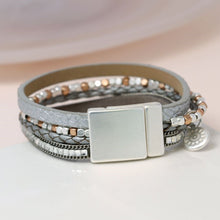 Load image into Gallery viewer, Metallic grey leather bracelet with square crystals