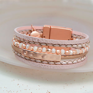 Rose gold leather beaded bracelet