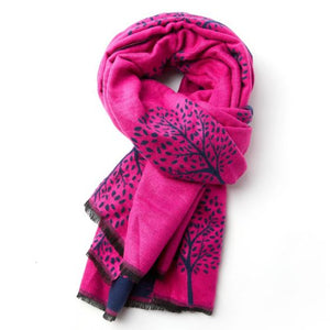 Mulberry Trees Scarf - fuchsia and navy