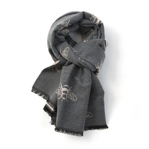 Bees scarf in grey and pale pink