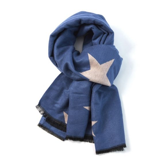 Star scarf - blue and pale pink