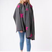 Load image into Gallery viewer, Star scarf - fuchsia and grey