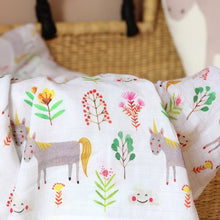Load image into Gallery viewer, Unicorn Muslin Swaddle Blanket