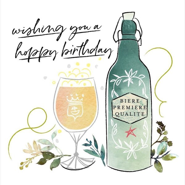 Wishing You A Happy Birthday - beer card