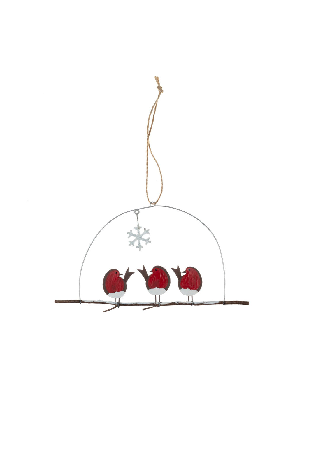 Three Robins on Perch Christmas Decoration