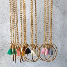 Load image into Gallery viewer, Hoop Tassel Necklaces - various colours