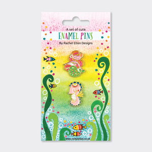 Mermaid pin badge set